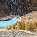 Blick auf den künstlich angelegten Moosjesee mit seiner unwirklichen Farbe