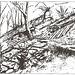 """<b>Sovenda.<br />1. Ripari in sasso.<br />2. Ripari-guida in legname.<br />3. Scivolo su un fosso.<br />4. Massicciata greggia.<br />5. Riparo in muracca di sassi.<br />Fonte: Abele Sandrini; """"Boschi, boscaioli e fili a sbalzo""""; Armando Dadò Editore, 1985, pagina 37.</b>"""