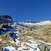 Aufstieg zum Chammligrat: links P. 2821, in der Mitte P. 2981, rechts das Hangendgletscherhorn