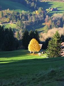 Ultimi raggi di sole scendendo a Schwende.