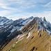 Viele Alpstein-Grössen auf diesem Bild: u.a. Altmann, Säntis, Hängeten, Altenalptürm, Öhrli, Rossmad und der kecke Steckenberg.