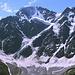Im Aufstieg zum Cheget - Blick zu Donguzorun und Nakratau. Deren Nordflanken sind von bizarren Gletschern bedeckt.