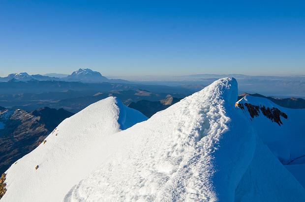 Blick vom Gipfel auf Illimani