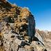 Die etwas ruppigere Passage vor dem ersten Gipfelsteinmann. Das schlecht verankerte Drahtseil lässt man am besten links liegen. Es geht gut ohne.