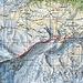 """Sechster Tag: Hörnlihütte absteigen zum Pk. 293 , hinab zur Bergstation """"Hirli"""" hinab zum Hotel Schwarzsee. <br />Tour. 10 Km, 1260 HM auf und 1000 HM ab"""