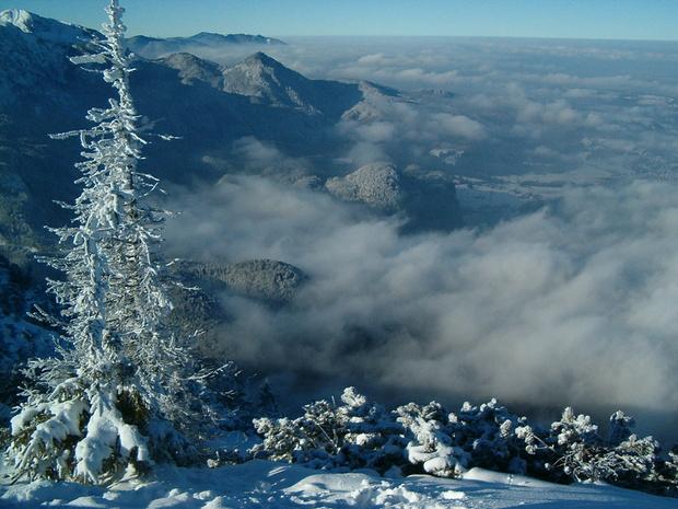 Dunstwolken über dem Voralpenland