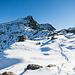 Der Gipfel rückt in die Nähe. Mit zunehmender Höhe wird auch der Schnee etwas tiefer.