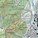 Der Staatswaldpfad ist mit einer durchgehenden Linie eingezeichnet, der obere Teil des Medikerweges (alter Verkehrsweg ins Reppischtal) gestrichelt und der Ausstieg nach der Rippe Richtung Höcklerstrasse gepunktet.