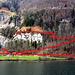 Der Uferweg (unterste rote Linie), der Weg zum unteren Wasserfall (links) und der Weg zum oberen Dundelbachfall (Zick-zack hinauf).