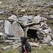 Zina sull'ingresso di una piccolo rifugio dei pastori, ormai distrutto