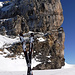 Mein Skidepot, ab hier geht es zu Fuss weiter zum Gipfel.