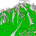 Mappa dei sentieri della Grignetta dai Piani Resinelli.