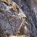 Il percorso di avvicinamento al Caminetto Pagani con le sue corde fisse visto dall'alto del Caminetto stesso.