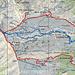 GPS-Tracks. Rot: 27. Oktober 2009, blau Schneeschuhtour vom 25. März 2009