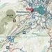 Karte grüne Linien sind Schneeschuh-Trails, blau-rot Loipen