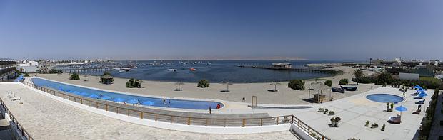 Blick vom Hotel auf die Halbinsel Paracas