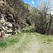 dieser Fahrweg führt zum Tor, rechts vom Tor dann der steile Aufstieg nach Crosa