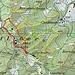 Karte: rot die Gipfelrundtour, gelb die Trampelpfade, grün die Wege. Ich bin beim Staffel gestartet und habe die Runde im Uhrzeigersinn gemacht. Andersherum ginge auch, allerdings ist es nicht ganz einfach, die Stelle zu treffen, an der man den Denzlerweg verlassen muss.