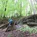 kurzer, steiler, Treppenaufstieg - links die Rampe für Hunde ;-)