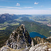 Rückblick von der Säulingwiese auf den höchsten Apostel und die Allgäuer Seenlandschaft