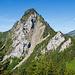 Die Rigi Hochflue vom Gottertli aus gesehen. Unten rechts in der Wiese die Pfadspur, die den Einstieg zum Alpinwanderweg darstellt. Schön zu erkennen ist die markante Schuttrinne, oberhalb derer man sich später kurz bewegen wird.