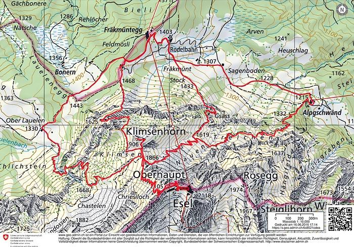 Routenverlauf Quelle: map.geo.admin.ch - Fotos [hikr.org] on