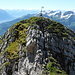 """View from the main summit back to the """"Vorgipfel""""."""