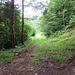 der Weg, der nicht begangen werden darf (privat), in der Karte als gestrichelte Linie eingezeichnet. Der Wanderweg biegt rechts ab.