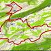 Karte. Die Zusatzschleife Hohe Winde sollte unbedingt eingeplant werden, da man von dort eine grossartige Aussicht Richtung Basel und Schwarzwald hat.
