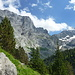 Abstieg zum Gletscherhubel: links Gstellihorn und rechts Tossen über dem Rosenlauigletscher