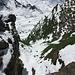Lidernen Planggeli mit Fixseil im Schnee begraben