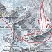 Meine Auf- und Abstiegsroute vom Mont Gelé. Bequemer und kürzer wäre es gewesen die Abstiegsroute auch für den Aufstieg zu benutzen.
