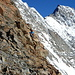 Wir sind bereits wieder am Abstieg zum Mischabelbiwak
