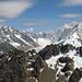 Links Aiguille du Chardonnet (3824m), rechts Aiguille Verte (4122m), dazwischen der Glacier d' Argentine