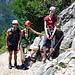 """... das Team (v.r.n.l.): 2x Tochter + 1x Freund (fürs """"Rotkäppchen"""" ist's der 1. Klettersteig überhaupt) ...und natürlich (nicht sichtbar) der Fotograph...."""