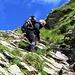 Franceschina sulle catene che scendono dal Pass de la Cruseta.