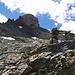 Weiter geht's. Der Buckel links ist nicht der Gipfel und dieser Steinmann verleitet uns dazu, etwas zu weit links aufzusteigen.