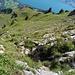 Hier beginnt Teil zwei des Abenteuers! Der Abstieg von der Paliis Nideri ist ein ganz wunderbarer Weg, der mit viel Fantasie in die niemals leicht begehbaren Steilhänge des Brisi hineingezirkelt wurde. Zunächst geht es aus der Paliis Nideri an festen Geländern, Drahtseilen...