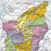 Karte der Republik San Marino.  Das kleine Land bestht aus neun Gemeinden (Castelli) die alle auf der Karte eine andere Farbe haben. Ziemlich in der Mitte befindet sich die Hauptstadt Città di San Marino mit dem Landeshöhepunkt Monte Titano (756m).<br /><br />Die Karte ist von Wikipedia.