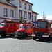 Ausstellung von alten Feuerwehr-Autos am Peter-Schöfferplatz