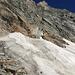 Einstieg des Klettersteigs auf den Sonnigpass. Links rum über den Bergschrund ging es einfacher