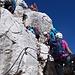 Ab der Stelle, wo sich die beiden Klettersteige vereinigen, wird's so richtig voll. Hier musste ich stellenweise sehr lange warten.
