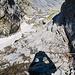 Wieder bei der steilsten Passage des Klettersteigs