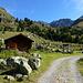 Alp Viglia im Val d'Err: über der Informationstafel zum Parc Ela das Seitental von Cotschna, darüber rechts der Piz Val Lunga, links die beiden Gipfel des Piz Ela