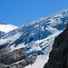 Blick hoch zum Gletscher