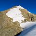 Gipfel vom Vorder Tierberg. Aufgestiegen sind wir im Schnee, abgestiegen links davon im Fels/Schutt. Im Schnee sieht man auch einige Rutschspuren.