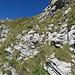 Rückblick auf die erste gesicherte Stelle auf dem Normalweg während des Abstiegs.