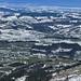 Vom Kamor: grün-weiss-gemustertes Appenzellerland mit weissem Thurgau dahinter (sowie Konstanz, Bodensee etc.)