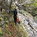 La calata nel greto del Rio Loccia (a circa 1050 m)