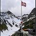 Leutschachhütte mit Wichelhorn (links), dem heutigen Gipfelziel.